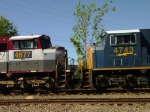 CSX SD70M #4677 (former EMDX #7002) coupled to CSX SD70MAC #4743 in the consist of a Waycross, GA bound train 